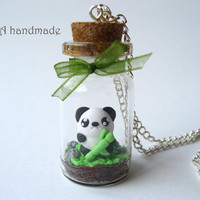 Cute terrarium necklace with a kawaii bamboo panda
