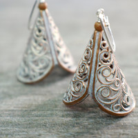 Rustic Earrings, Earthy Bride, Creamy White, Dangle Chandeliers, Vintage Jewelry, Sterling Silver Copper Patina Filigree Brass Earth Goddess