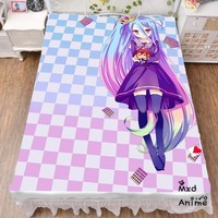 Japanese Anime No Game No Life Shiro Bed sheet Throw Blanket Bedding Coverlet Cosplay Gifts Flat Sheet cd048