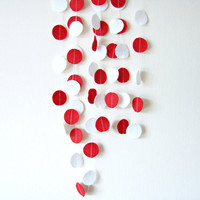 Red White Circle Felt Garland - home decor, felt bunting, christmas garland banner, birthday decorations