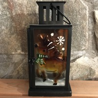 Reindeer Glass/Metal Holiday Candle Lantern