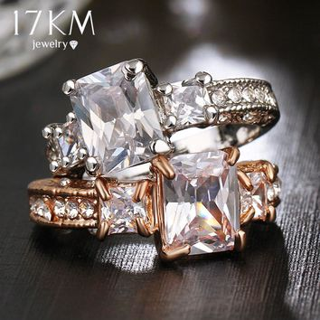 17KM Rose Gold Color and Silver Color Big Crystal Rings for Women Vintage Cubic Zircon Engagement Wedding Ring Jewelry Bijoux