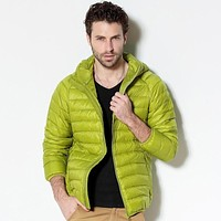 New Men White Duck Down Jacket Portable Hooded Down Coat Ultralight Men Winter Coat Warm Thermal Down Parkas Plus Size