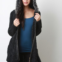 Fur Lined Hooded Sweater Coat