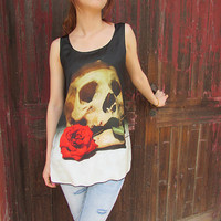 Skull tshirt,Skull and rose tshirts,skull  tanktop for women with all sizes