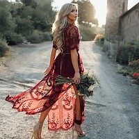 Boho Inspired Gypsy Embroidered Lace Maxi Dress Plunge Neck Slit Side Tunic (wine red no lining One Size)
