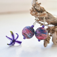 Blue and Red  Wooden Earrings - Beautiful Planet Earrings - Hand painted Pyrography Jewelry