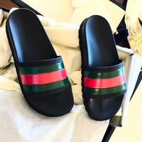 Gucci Fashion Women Men Casual Stripe Sandal Slipper Shoes Black