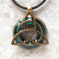 triquetra necklace: teal - mens jewelry - necklace for men - celtic jewelry - men necklace - boyfriend gift - irish jewelry - cord necklace