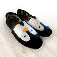 """Custom Painted """"Penguin"""" Toms Shoes"""
