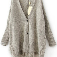 Grey Fringed Knitted Cardigans