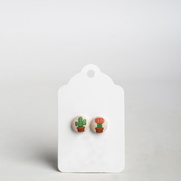 Cacti Button Earrings