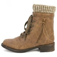 Qupid Relax-120 Taupe Sweater Cuff Ankle Boots   MakeMeChic.com