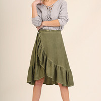 Tulip Skirt with Ruffled Hemline and Waist Tie Detail - Olive