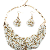 Speckled Bead Braid Short Necklace