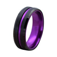 Passionate Purple Grooved Black Tungsten Carbide Ring with Beveled Edges 6mm & 8mm