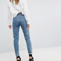 Monki Love Life Logo Mom Jeans at asos.com