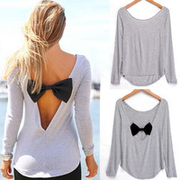 Sexy Backless Womens Long Sleeve Shirt Casual V-neck  Bowknot Splicing Loose Blouse Tops [1828299972]