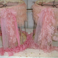 Shabby chic barrel lamp shade set tattered hand dyed pink lace and ruffles ribbon Anita Spero