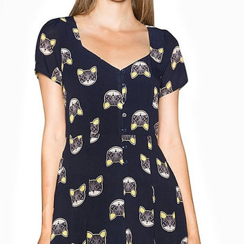 Cat Print Short Sleeve Mini Dress with Adjustable Waist Strap
