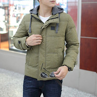 Vintage Style Men Winter Puffer Jacket with Hood