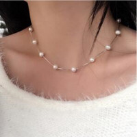 Silver Choker Imitation Pearl Necklace Chunky Bib Statement Necklace For Women Collares Short Collier Femme Bridal Jewelry