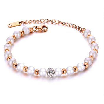 Rose Gold Beaded Bracelet with Simulated Pearls