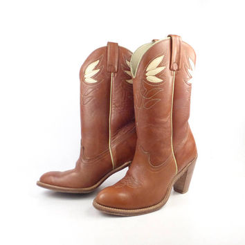 Inlay Cowboy Boots Vintage 1980s Brown Acme Leather Stacked Heel Women's size 7 M