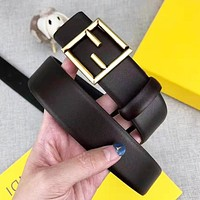 FENDI Woman Men Fashion Smooth Buckle Belt Leather Belt With Box