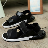 Black Roman Fashion Leather Sandals Slippers