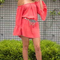 Into The Day Off Shoulder Dress- CORAL