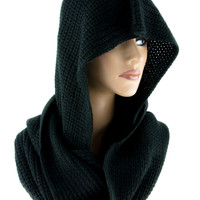 Black Gothic Knit Hooded Infinity Scarf Lady Death Clothing