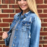 Peyton Cropped Denim Jacket