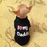 Pets Dog Clothes Soft 100% Cotton Summer Shirt Coat Outfit For Dog Puppy Clothes Costume Mommy Daddy Dog Clothing 15Q