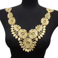 Romantic Necklace Collar Embroidered with Gold Flowers for Dresses, Tunics, Blouses, Tops