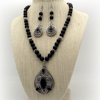 Song of the Night - Black Onyx Necklace and Earring Set – Black Necklace Set