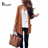 Plus Size 3XL Women Sweaters Medium-long Cardigans New Female Elegant Pocket Knitted Outerwear Spring Autumn Sweater Cape Top