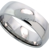 Surgical Steel Plain Wedding Band / Thumb Ring 8mm Domed Comfort-Fit High Polish, sizes 5 - 15
