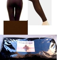 Winter Warm FootLess Seamless Fleece Lined Brown Leggings Tights size XS