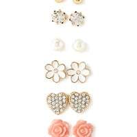 FOREVER 21 Faux Stone Flower Stud Set Gold/Pink One