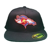 Colorado Flag Bronco Hat 210 Fitted Flat Bill Flexfit Hat