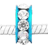 European Charm Metal Bead Spacer Clear Stones on Cyan Band
