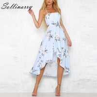 Sollinarry Halter strapless sexy dresses Floral print summer dress women Backless blue boho party beach dress vestidos