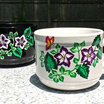 Hand Painted Black and White Stoneware Soup Mugs, Painted Soup Cups, Couples Gift, Bridal Shower Gift, Kitchen Decor, Gifts For Her
