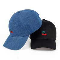 New Cherry Fruits Embroidered Snapback Baseball Cap Dad Hats Man & Women Denim Blue bone Caps Adjustable Curved Hats for Travel