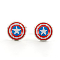 Mens Cufflinks - Accessories for Men - Silver Cufflinks - Captain America Shield - Comic Superhero - Red Blue White Star - Gift Bag Included