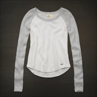 NWT Hollister Crew Neck Metallic Cable Knit Sweater L Large White Gray Top NEW