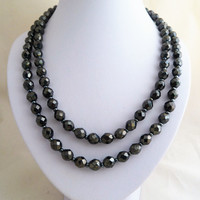 Vintage Hematite Glass Faceted Bead Double Strand Necklace