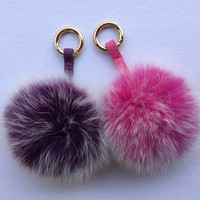 Luxury Oversized Genuine Fox Fur Pom Pom Keychain Bag Pendant, Fashion Accesory Pink Frosted