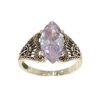 Silvertone Fashion Ring with Marquis Shape Medium Size Lavender Cubic Zirconia Single Stone in Antique Looking Filigree Setting